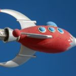 photo of gray and red spaceship building