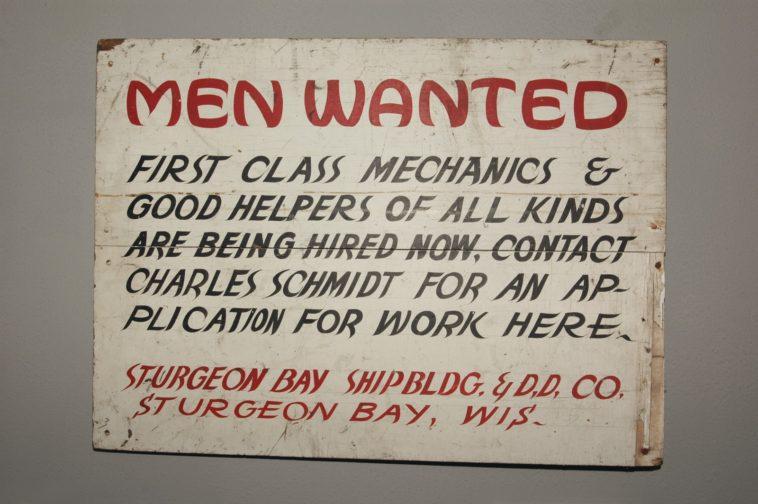 men wanted signage